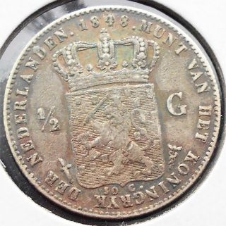 . 945 Silver 1848 Netherlands 1/2 Gulden Km 73.  1 William Ii Grade Pb 18 photo