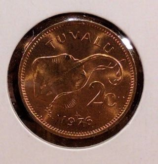 1976 Tuvalu 2 Cents Uncirculated Coin,  Km 2 photo