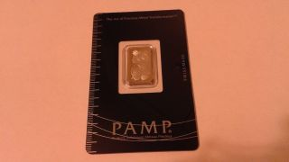 5 Gram Pamp Suisse Platinum Bar.  9995 Lady Fortuna Assay photo