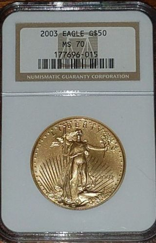 2003 $50 American Gold Eagle Ngc Ms70 photo
