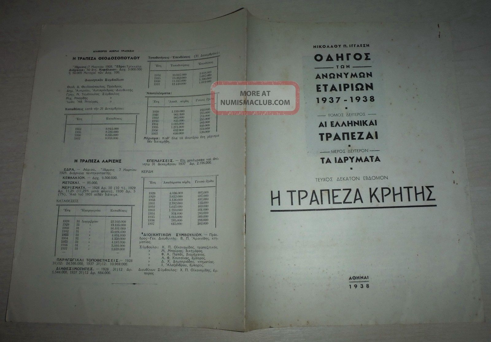 Bank Of Crete 1938 & 1955 Publications - Full Issues X 2 - The History,  Role,  Etc Stocks & Bonds, Scripophily photo