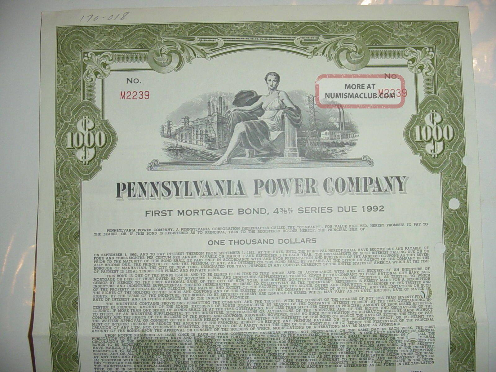 1962 Pennsylvania Power Company Bond Stock Certificate First Energy Stocks & Bonds, Scripophily photo