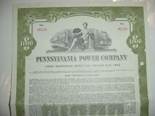 1962 Pennsylvania Power Company Bond Stock Certificate First Energy photo