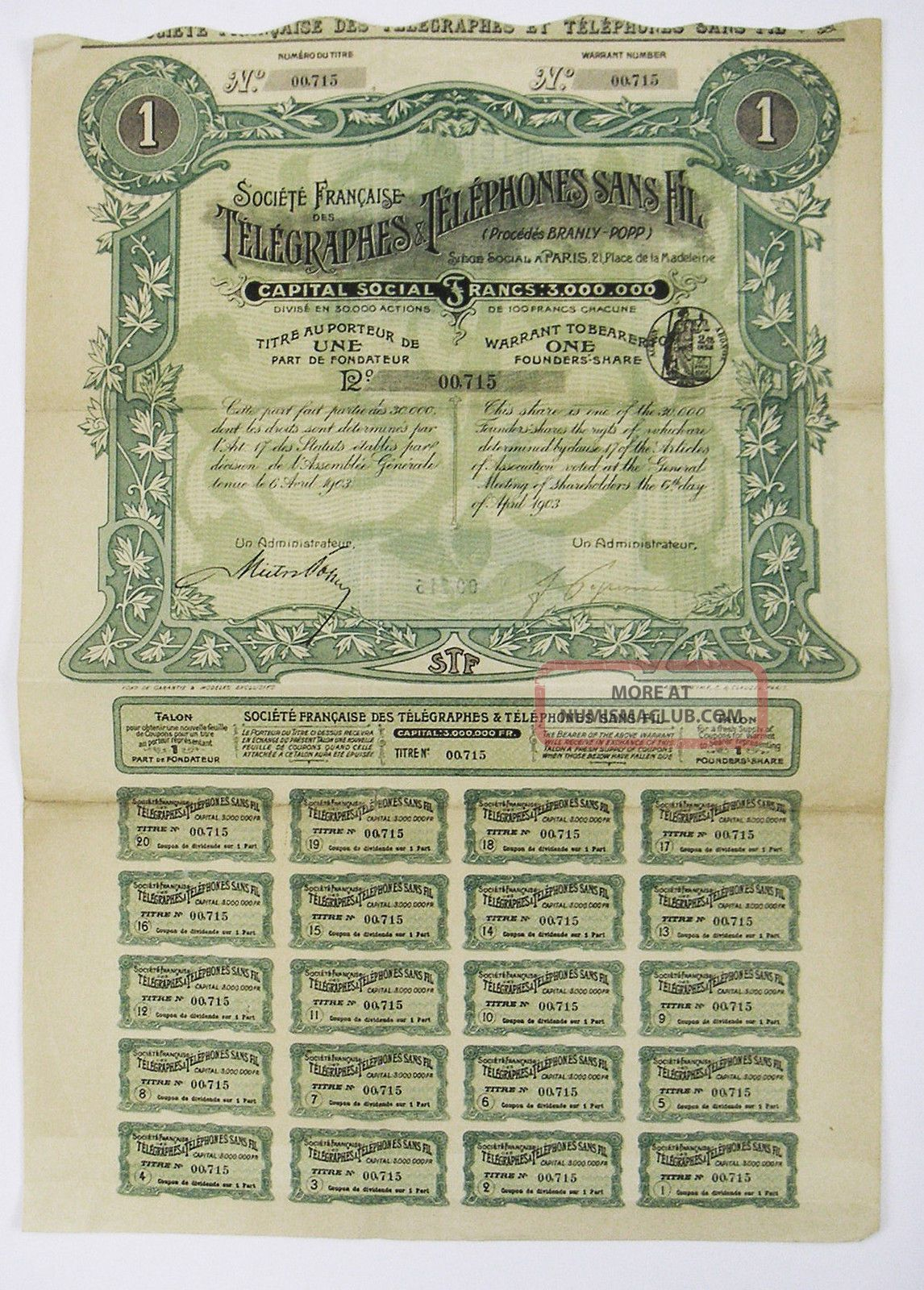 France - Télégraphe Et Téléphones Sans Fil Part Fondateur 1903 Stocks & Bonds, Scripophily photo