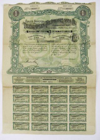 France - Télégraphe Et Téléphones Sans Fil Part Fondateur 1903 photo