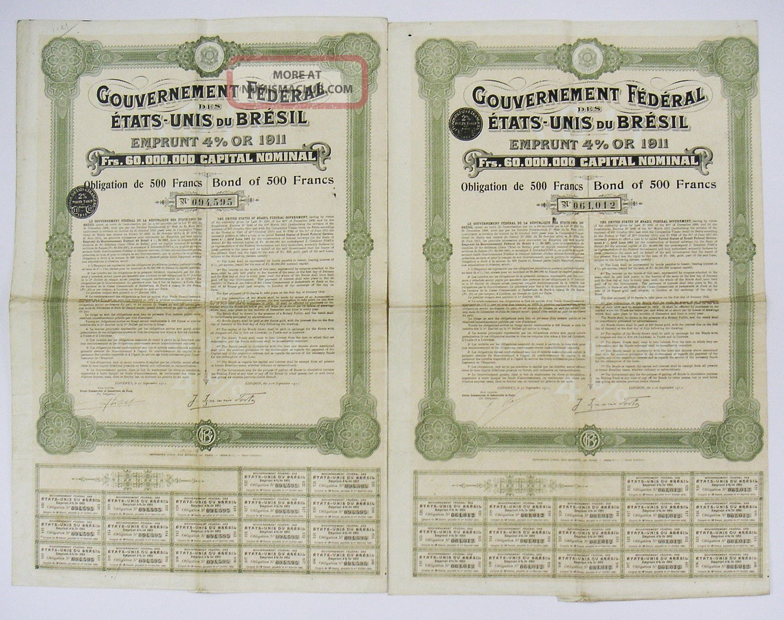 Gouv.  Federal Etats - Unis Du Bresil - Emprunt 4 Or 1911 - Bond Of 500f (x2) Stocks & Bonds, Scripophily photo
