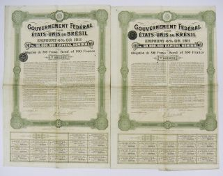 Gouv.  Federal Etats - Unis Du Bresil - Emprunt 4 Or 1911 - Bond Of 500f (x2) photo