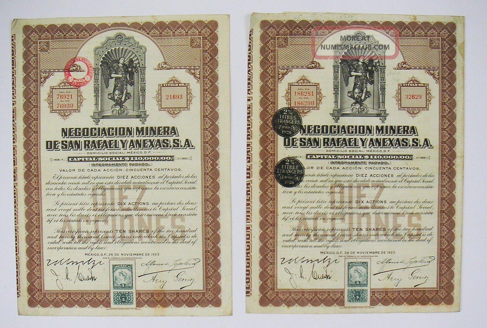 Mexico - Negociacion Minera De San Rafael Y Anexas 10 Shares 1923 (x2) Stocks & Bonds, Scripophily photo