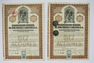 Mexico - Negociacion Minera De San Rafael Y Anexas 10 Shares 1923 (x2) photo
