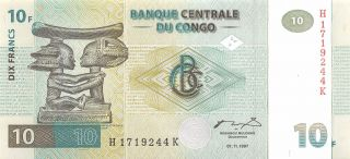 Congo 10 Francs 01.  11.  1997 Series H - K Uncirculated Banknote Me27f photo