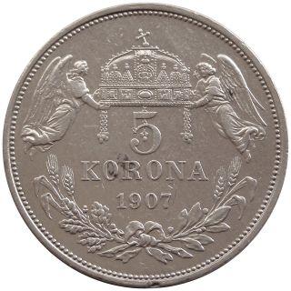 V293 Hungary 5 Korona 1907 Km 488 Silver Coin Ungarn Xf photo