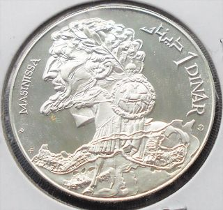 . 925 Silver 1969 Tunisia 1 Dinar Km 293 Masinissa 40 Mm Gem Proof Pb 2 photo