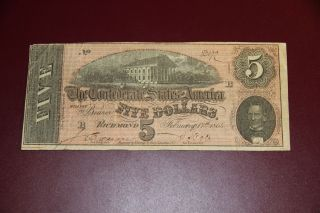 1864 T - 69 $5 The Confederate States Of America Note - Civil War Era Rmc 155 photo