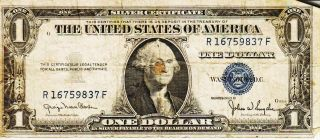 Series 1935 D One Dollar Silver Certificate==circulated photo