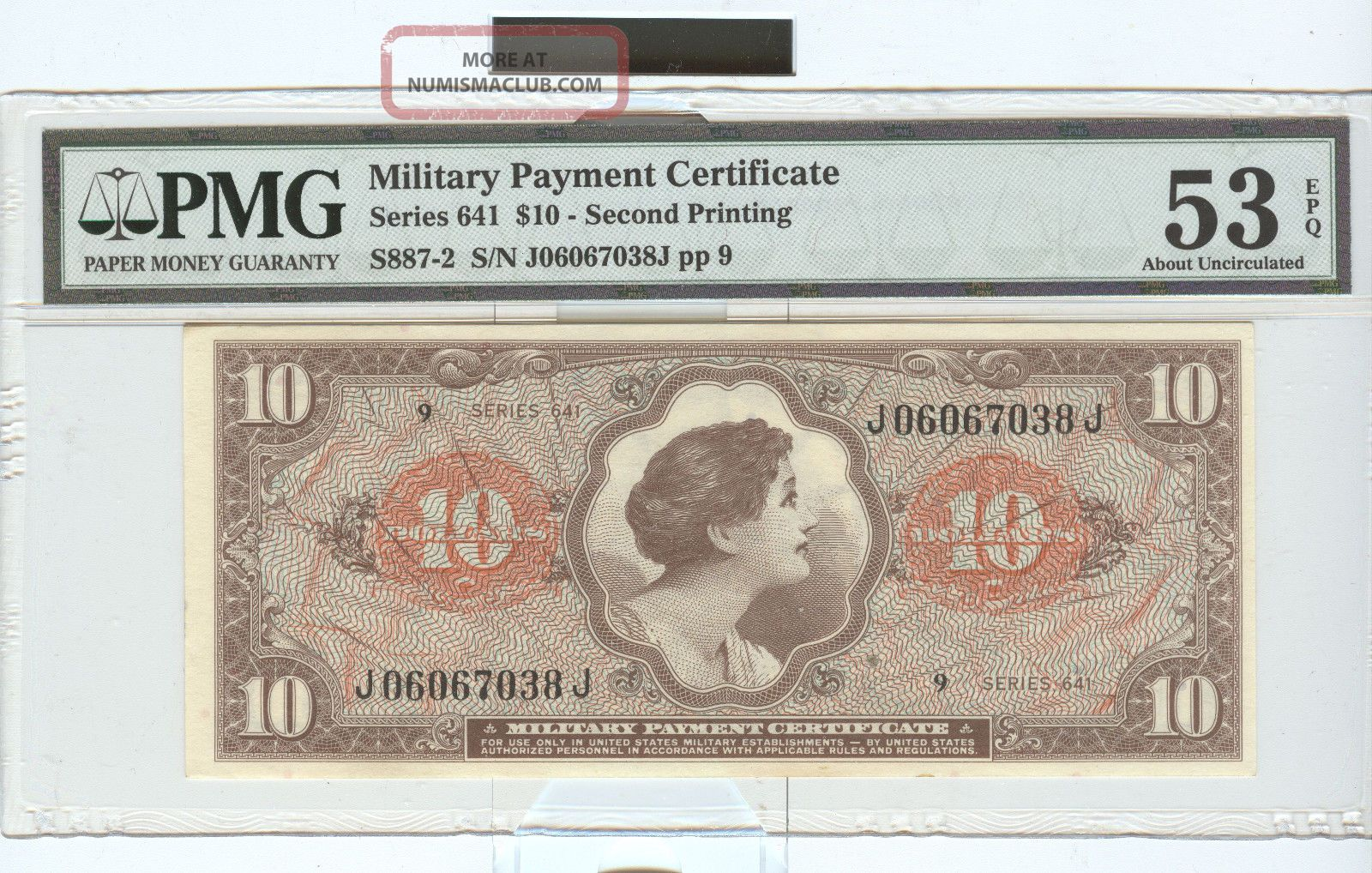 Series 641 $10 Military Payment Certificate Paper Money: US photo