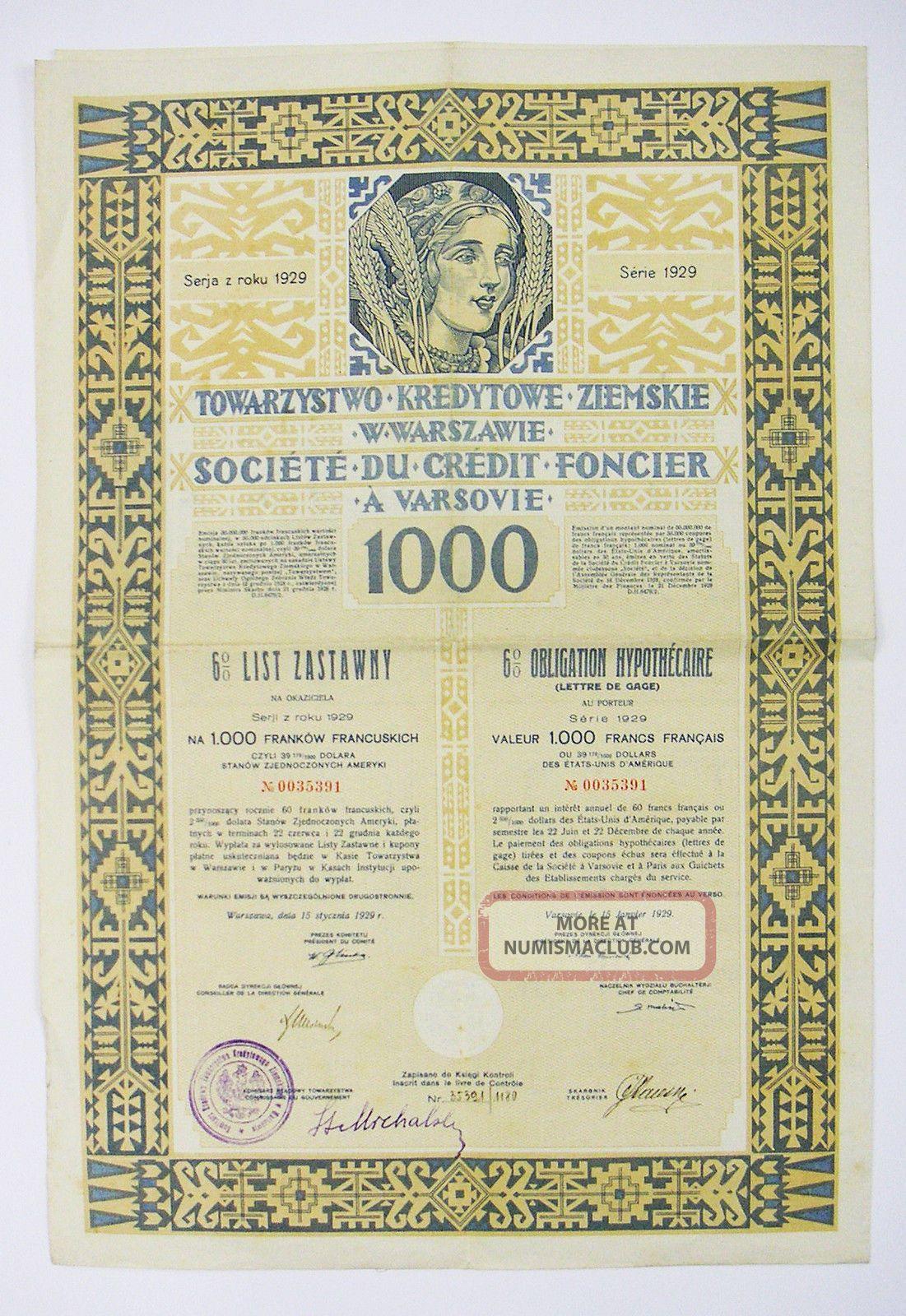 Poland - Société Du Crédit Foncier A Varsovie – Ob.  1000f 1929 Stocks & Bonds, Scripophily photo