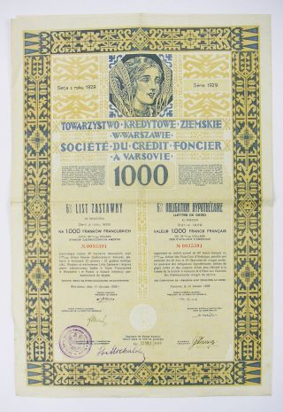 Poland - Société Du Crédit Foncier A Varsovie – Ob.  1000f 1929 photo