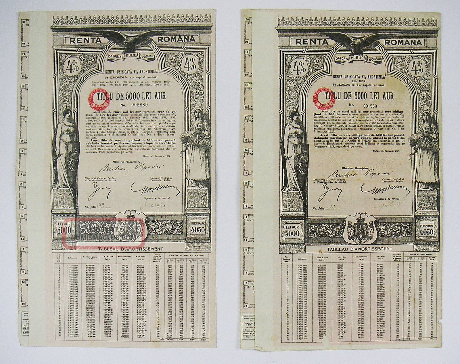 Romana - Renta Romana 4 - Titlu De 5000 Lei Aur 1929 (x2) Stocks & Bonds, Scripophily photo