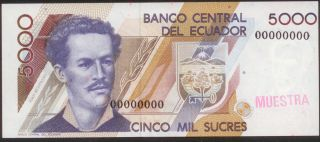 Ecuador Specimen 5000 Sucres,  Paper Money,  Banknote photo