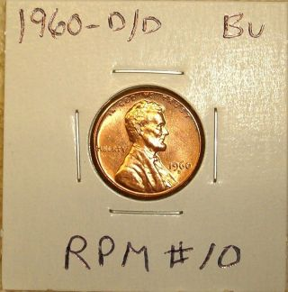 1960 - D/d Rpm 10 Lincoln Cent - Brilliant Uncirculated - - Scarce photo