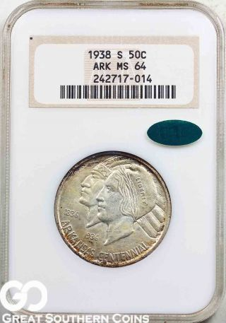 1938 - S Arkansas Commemorative Half Dollar Ngc Ms 64 Cac Certified photo