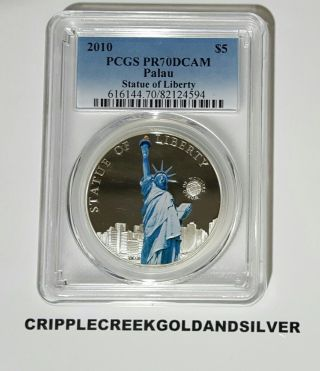 2010 $5 Palau World Of Wonders Statue Of Liberty Colored Coin Pcgs Pr70dcam photo