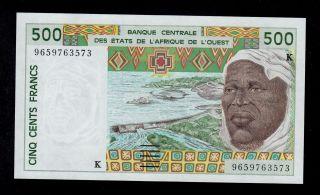 West African States 500 Francs 1996 Senegal Pick 710kf Au - Unc Banknote. photo
