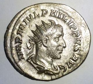Ancient Roman Silver Empire Coin Philip I
