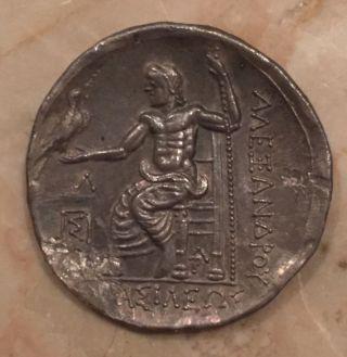 Ancient Greek Roman Silver Coin 328bc Alexander Iii Ar Tetradrachm Herakles Zues photo