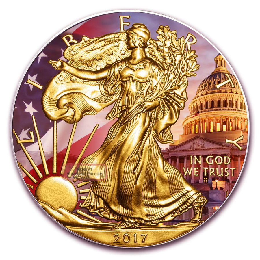 2017 American Silver Eagle 1 Oz Colorized And Gold Gilded