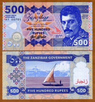 Zanzibar (tanzania),  500 Rupees,  2017,  Private Issue,  Unc Freddie Mercury photo