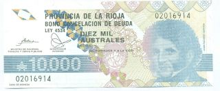 Argentina Note Emergency La Rioja 10000 Australes 1989 044 Serial H Unc photo