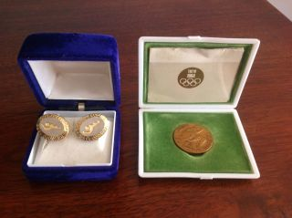 Vintage 1964 Tokyo Olympic Games Copper Commemorative Medal & Cufflinks photo