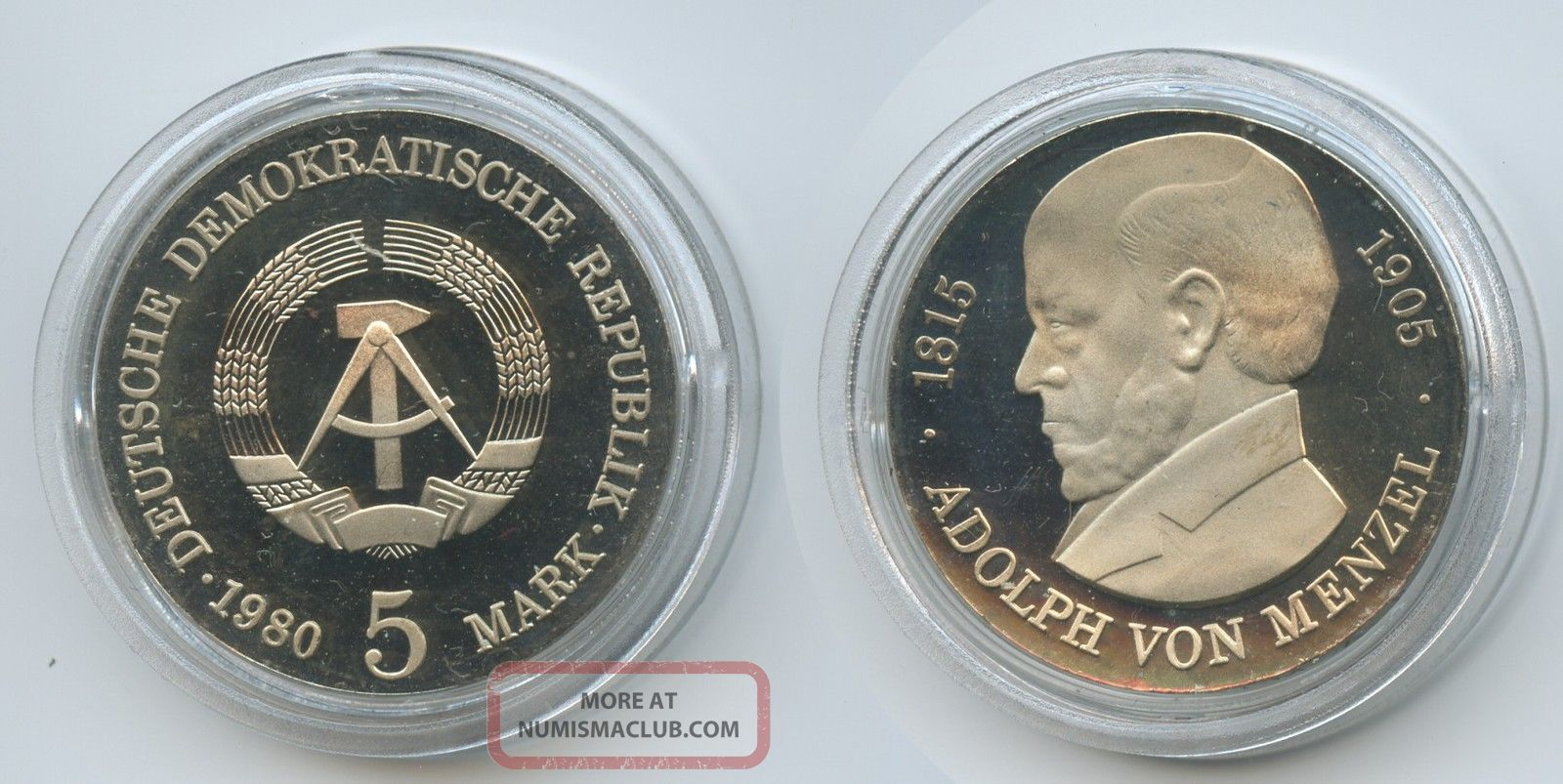 Gx710 - East Germany 5 Mark 1980 Km 76 Proof Adolph Von Menzel Ddr Scarce East Germany (1949-90) photo