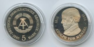 Gx710 - East Germany 5 Mark 1980 Km 76 Proof Adolph Von Menzel Ddr Scarce photo