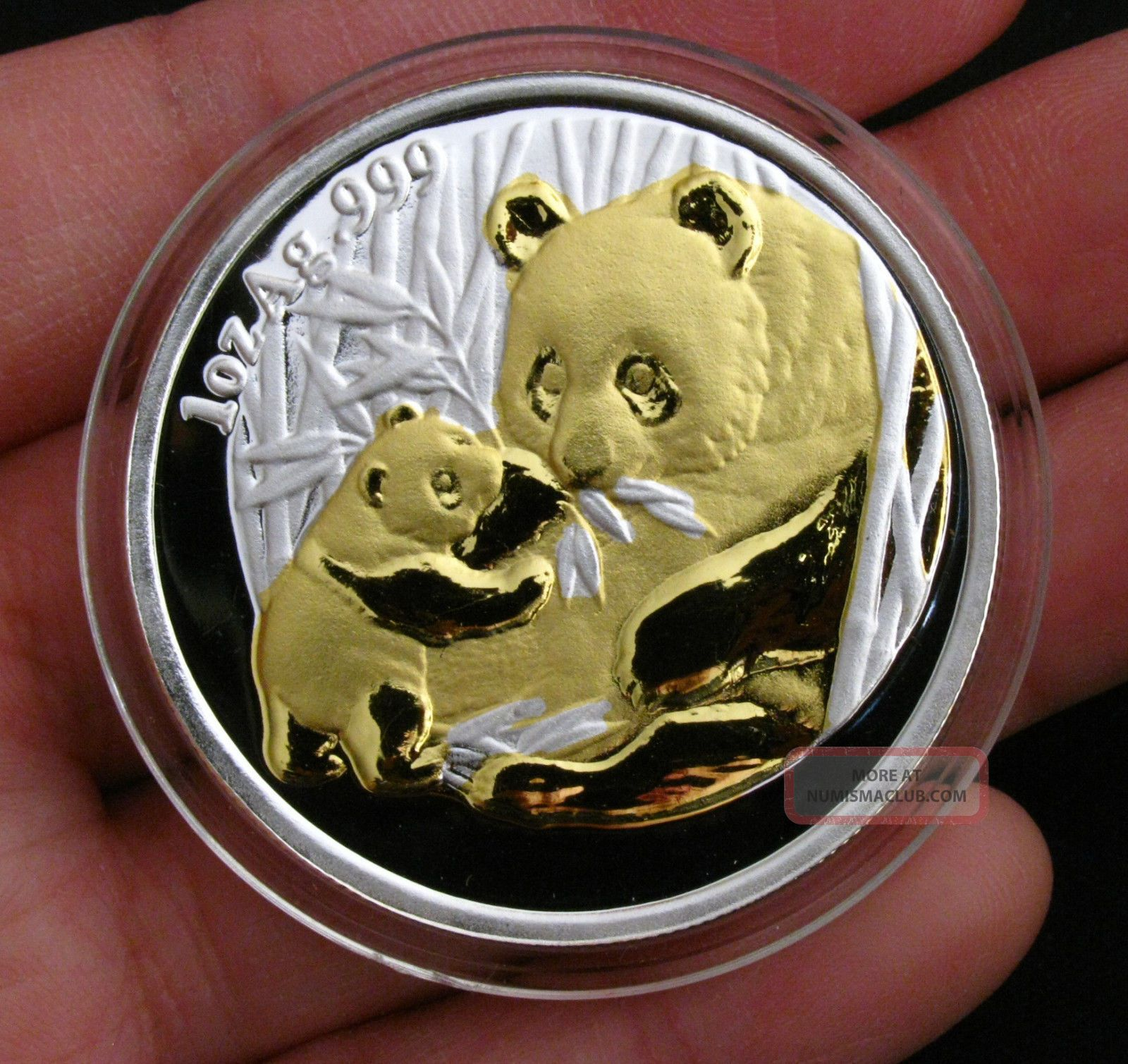 2005 Chinese Giant Panda 24k Gold & Silver Commemorative Medal Bimetallic Coin Coins: World photo