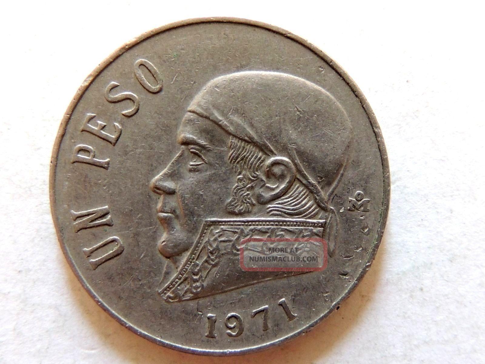 1971 Mexican Un 1 Peso Coin