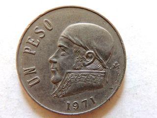 1971 Mexican Un (1) Peso Coin photo