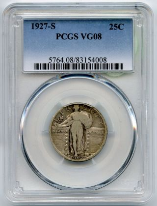1927 - S Standing Liberty Quarter Pcgs Vg 08 Certified - San Francisco Aj821 photo