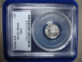 2001 Platinum Eagle Pcgs Ms69 1/10 Oz.  Tenth Ounce photo