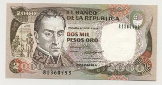 Colombia 2000 Pesos 17 - 12 - 1986 Pick 433.  A Unc Uncirculated Banknote photo