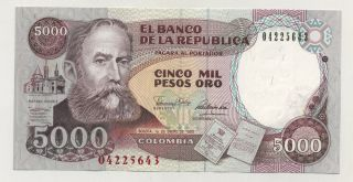 Colombia 5000 Pesos 1 - 1 - 1990 Pick 436 Unc Uncirculated Banknote photo