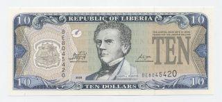 Liberia 10 Dollars 2009 Pick 27 Unc Uncirculated Banknote photo