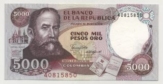 Colombia 5000 Pesos 5 - 8 - 1986 Pick 434.  A Unc Uncirculated Banknote photo