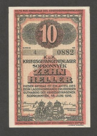 Austria Sopronnyek 10 Heller 1916; Unc; C - 1464; Pow Camp,  World War I photo