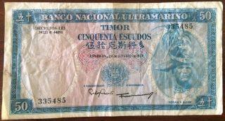 1967 Timor 50 Escudos Pick 27 Look Scans photo