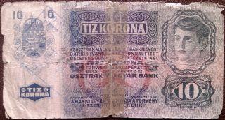 Austro - Hungarian Krone - 10 Zehn Kronen - Year 1915 - With Stamp - photo