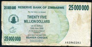 Zimbabwe 25 Million Dollars 2/4/2008 P - 56 F Circulated Banknote photo