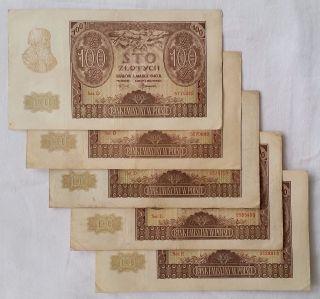 Polonia 5 Billetes De 100 Zlotych 1940 Era Ocupación Nazi photo
