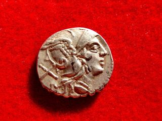 Lucernae Anonymous Silver Serrate Denarius.  Sicily,  209 - 208 B.  C.  Very Rare photo